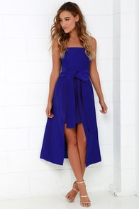 Cameo Wake Me Cobalt Blue Strapless Midi Dress at Lulus.com!