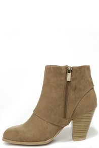 Cuffed Luck Taupe Suede High Heel Ankle Boots at Lulus.com!