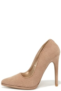 Modern Myth Taupe Suede Pointed Pumps at Lulus.com!