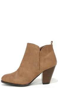 Looking Sharp Taupe High Heel Ankle Boots at Lulus.com!