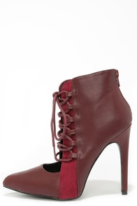 Case in Point Burgundy Lace-Up Booties at Lulus.com!