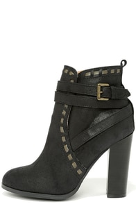 Line Strive Black Suede High Heel Booties at Lulus.com!