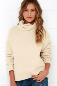 JOA Would You Be Mine? Beige Turtleneck Sweater at Lulus.com!