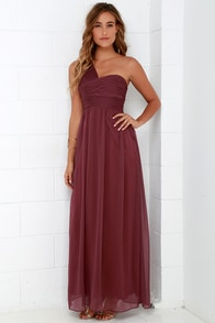 City Soiree Burgundy One Shoulder Maxi Dress at Lulus.com!