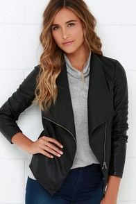 BB Dakota Lander Black Vegan Leather Jacket at Lulus.com!