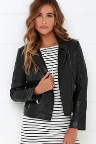 BB Dakota Benton Black Leather Moto Jacket at Lulus.com!