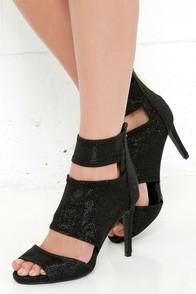 Sparkler Send Off Black Glitter Caged Heels at Lulus.com!