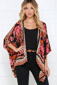 Russian Rose Red Floral Print Kimono Top at Lulus.com!