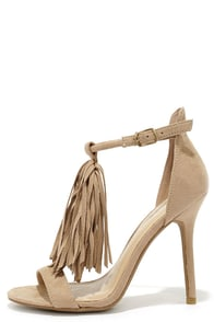Cute 66 Natural Suede Fringe High Heel Sandals at Lulus.com!