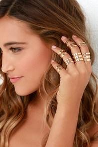 Honey, I'm Home Gold Ring Set at Lulus.com!