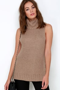 JOA I Got You Babe Brown Sleeveless Sweater at Lulus.com!