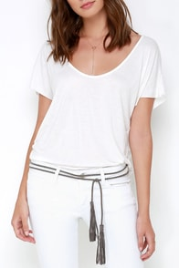 Queen of Olympia Grey Braided Wrap Belt at Lulus.com!