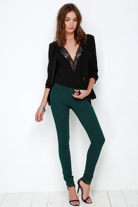 Take a Walk Dark Teal Skinny Jeans at Lulus.com!