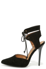 Stunning Stature Black Suede Lace-Up Heels at Lulus.com!
