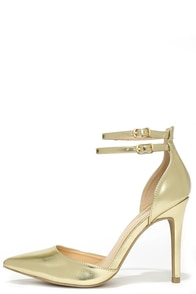 Regal Ease Gold Ankle Strap Pumps at Lulus.com!
