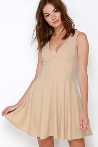Sublime Time Beige Skater Dress at Lulus.com!