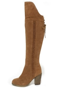 Sbicca Gusto Tan Suede Leather Over the Knee Boots at Lulus.com!