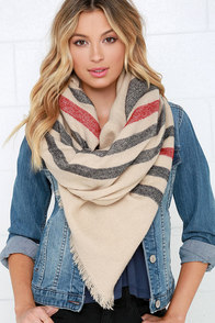 Weaving Path Beige Striped Scarf at Lulus.com!