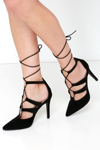 Rising Star Black Lace-Up Heels at Lulus.com!