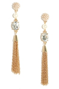 Make Some Magic Gold Pearl Tassel Earrings at Lulus.com!