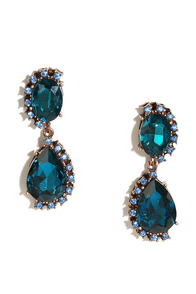 Beyond the Depths Blue Rhinestone Earrings at Lulus.com!