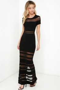 Stripe Up a Conversation Black Maxi Dress at Lulus.com!