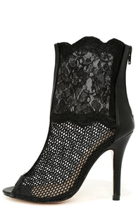C'est La Vie Black Mesh and Lace Booties at Lulus.com!