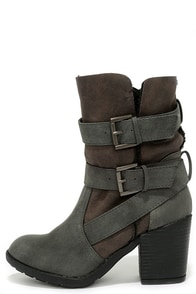 Report Yurick Grey High Heel Fold-Over Boots at Lulus.com!