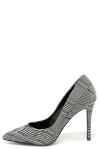 Charles by Charles David Pact Black and White Plaid Pumps at Lulus.com!