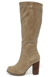 Sleekin' Weekend Taupe Knee High Heel Boots at Lulus.com!