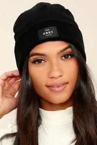 Obey Vernon Black Knit Beanie at Lulus.com!