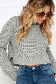 Evil Twin Lunar Rock Skivvy Grey Cropped Sweater at Lulus.com!