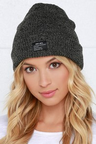 Obey Premier Black and Grey Knit Beanie at Lulus.com!