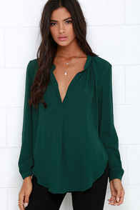 That Certain Something Dark Green Top at Lulus.com!