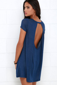 Made You Look Blue Swing Dress at Lulus.com!