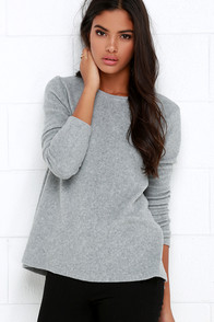 Project Social T What's the Fuzz Grey Sweater Top at Lulus.com!