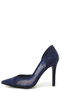 Jessica Simpson Cavilla Military Blue Lace D'Orsay Pumps at Lulus.com!