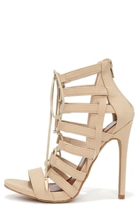 Cage By Surprise Nude Caged Lace-Up Heels at Lulus.com!