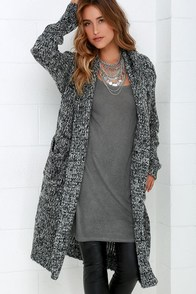 Staycation Black and Ivory Hooded Cardigan Sweater at Lulus.com!