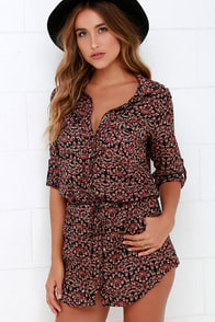 Brushfire Fairy Black Floral Print Shirt Dress at Lulus.com!