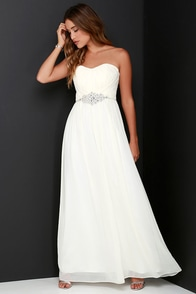 Luxe See Cream Strapless Rhinestone Maxi Dress at Lulus.com!