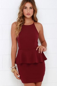 Mischievous Maiden Burgundy Peplum Dress at Lulus.com!