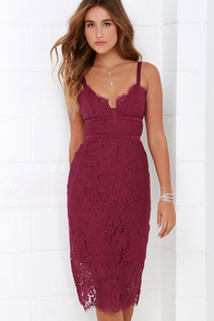 Keepsake Interlude Berry Red Lace Midi Dress at Lulus.com!