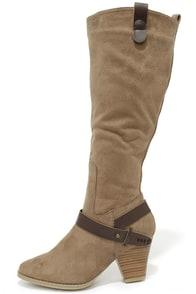 Band on the Run Taupe Suede Knee High Boots at Lulus.com!
