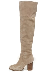 Jessica Simpson Ebyy Taupe Suede Leather Over the Knee Boots at Lulus.com!
