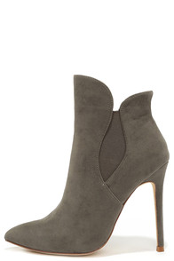 Very Superstitious Grey Suede Pointed Toe Booties at Lulus.com!