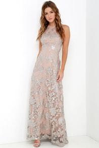 Dress the Population Valentina Silver Sequin Maxi Dress at Lulus.com!
