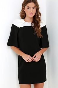Elliatt Vatican Ivory and Black Cape Dress at Lulus.com!
