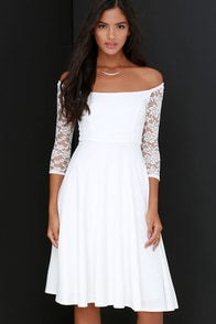 Central Square Ivory Lace Midi Dress at Lulus.com!