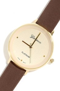 Spare Time Cream and Brown Leather Watch at Lulus.com!